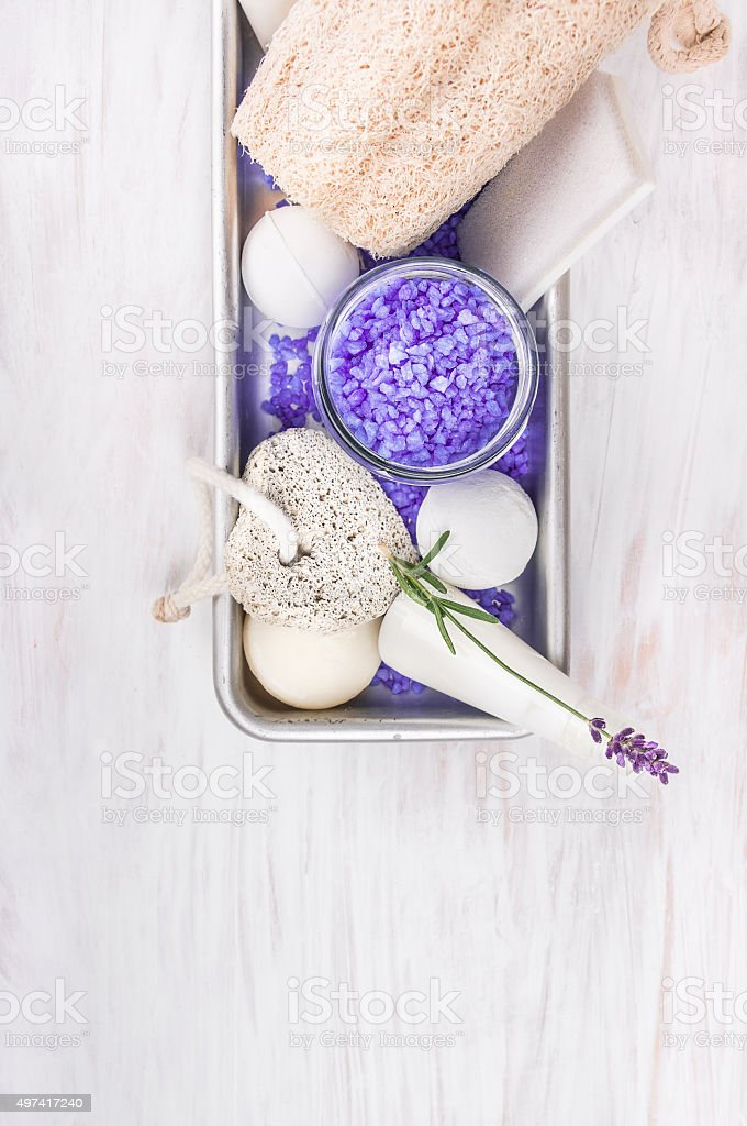 Bath set with lavender, spa background stock photo