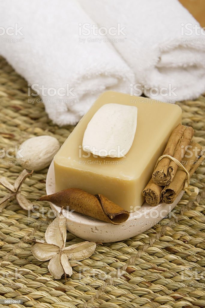 Bath soap and towels royalty-free stock photo