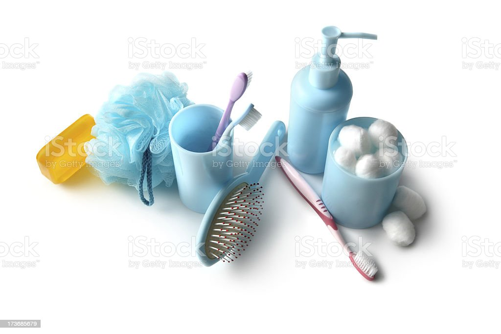 Bath: Soap, Hair Brush, Cotton Balls, Pump Bottle and Toothbrushes stock photo