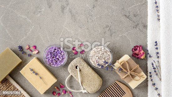 istock Bath Spa setting with Handmade natural Soaps 899297084