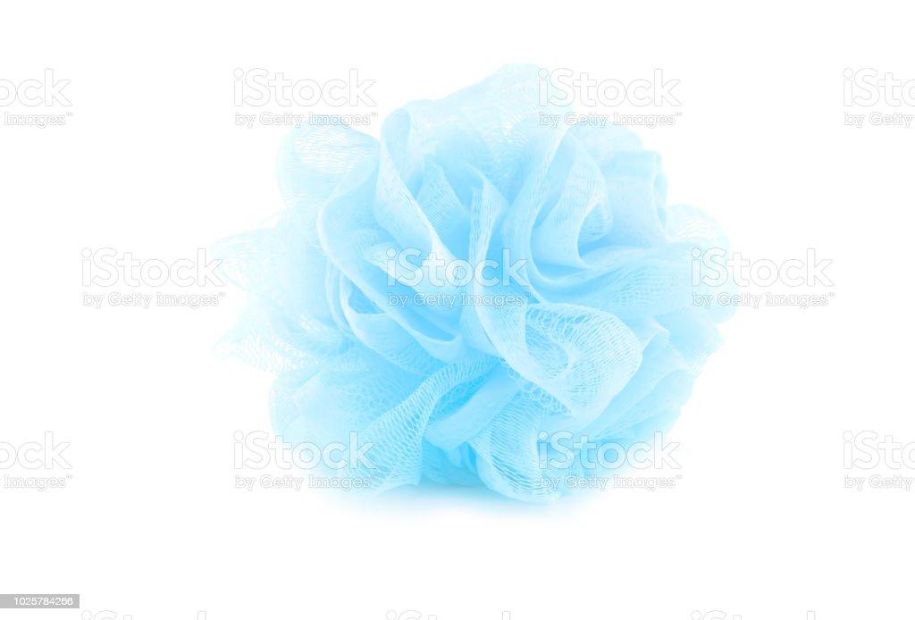 El Bano Azul.Azul De Esponja De Bano Aislado Sobre Fondo Blanco Utilizado