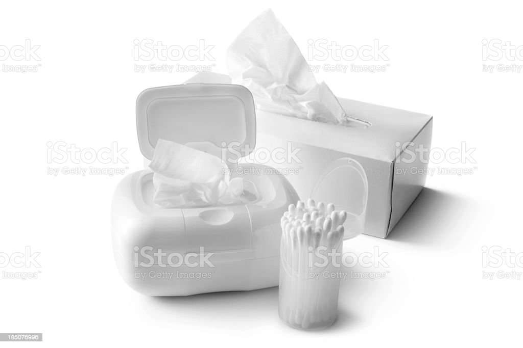 Bath: Tissues and Cotton Swab royalty-free stock photo