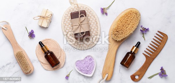 istock Bath tools on white marble background, top view, copy space. Daily bodycare concept, natural bath products 1321605952