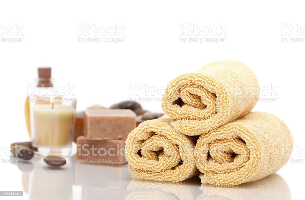 Bath towel, soap and candle royalty-free stock photo