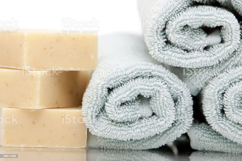Bath towels and soap bars royalty-free stock photo