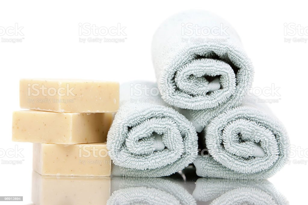 Bath towels and soap royalty-free stock photo