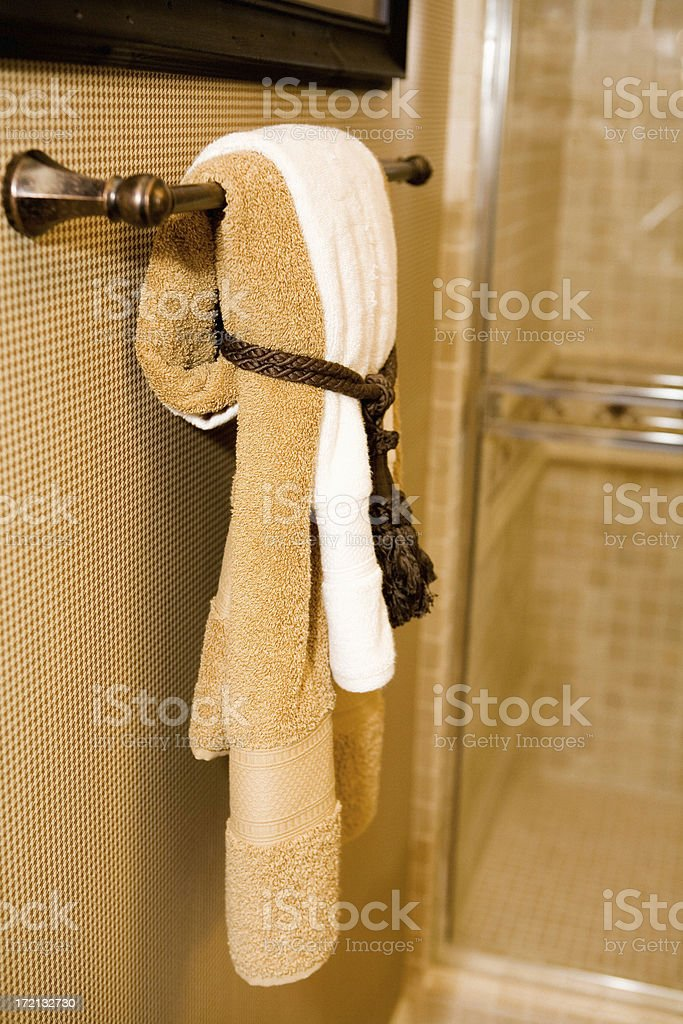 Bath Towels Hung Up royalty-free stock photo