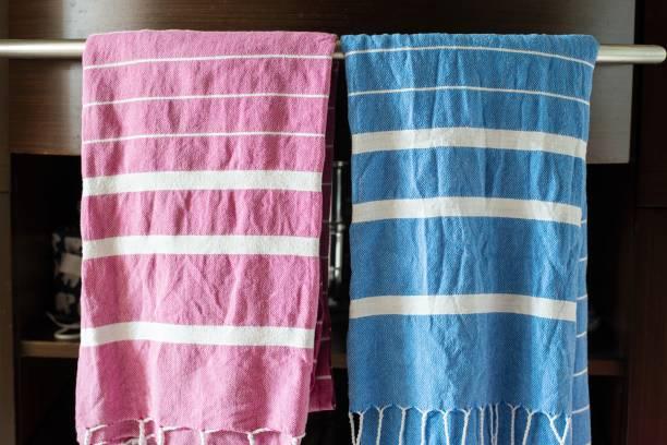 Bath towels in a domestic bathroom stock photo