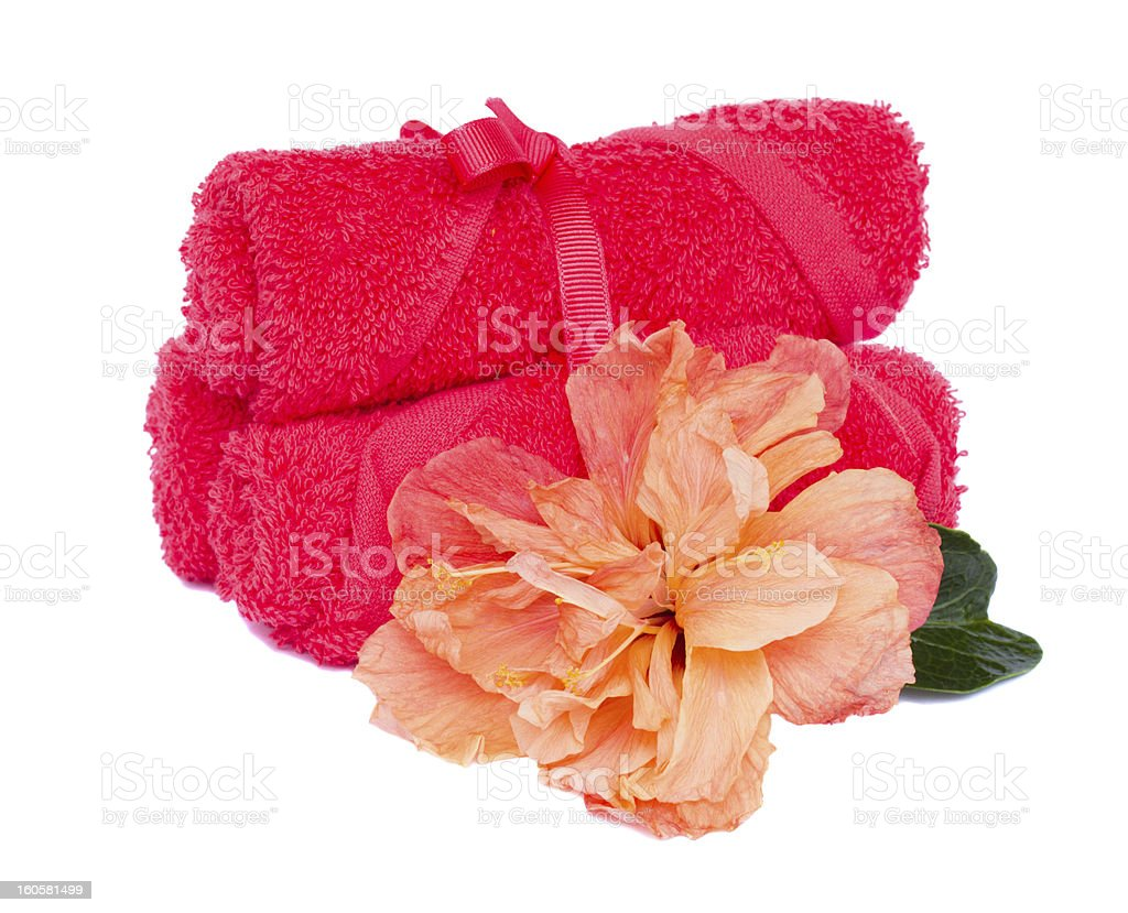 bath towels with hibiscus royalty-free stock photo