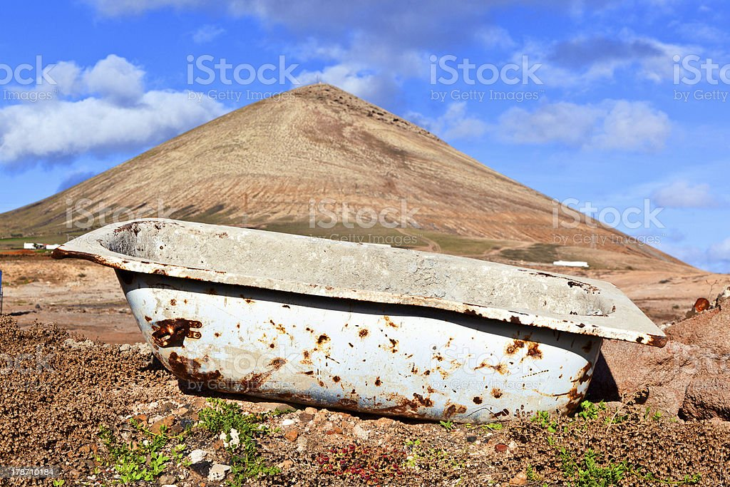 bath tub as environmental pollution in landscape royalty-free stock photo