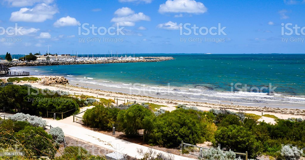 Bather's Beach with Turquoise Indian Ocean stock photo