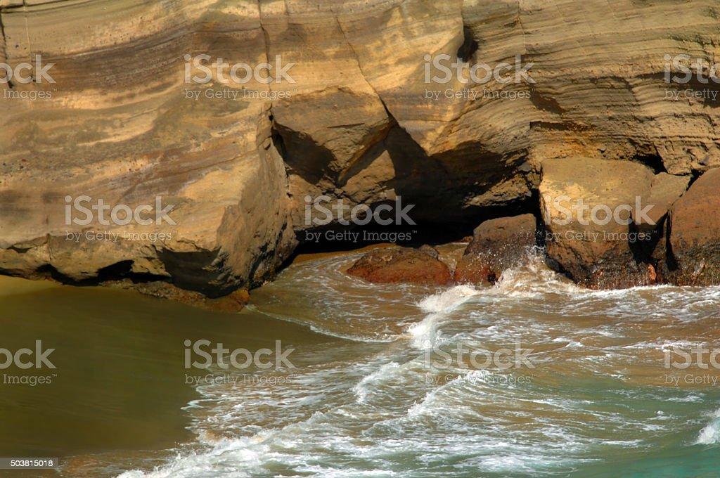 Bathing at Green Sand Beach stock photo