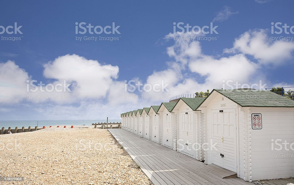 Bathing Huts at Eastbourne, East Sussex stock photo