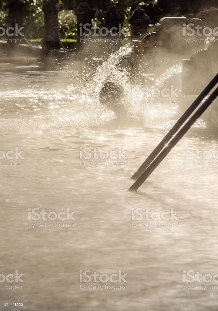 Bathing in Hot springs pool stock photo