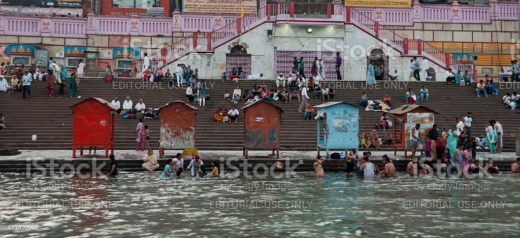 Bathing in Mother Ganga River royalty-free stock photo