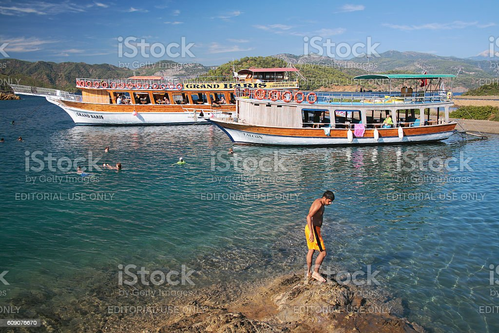 Bathing in open water during sea yacht trip. Fethiye, Turkey stock photo