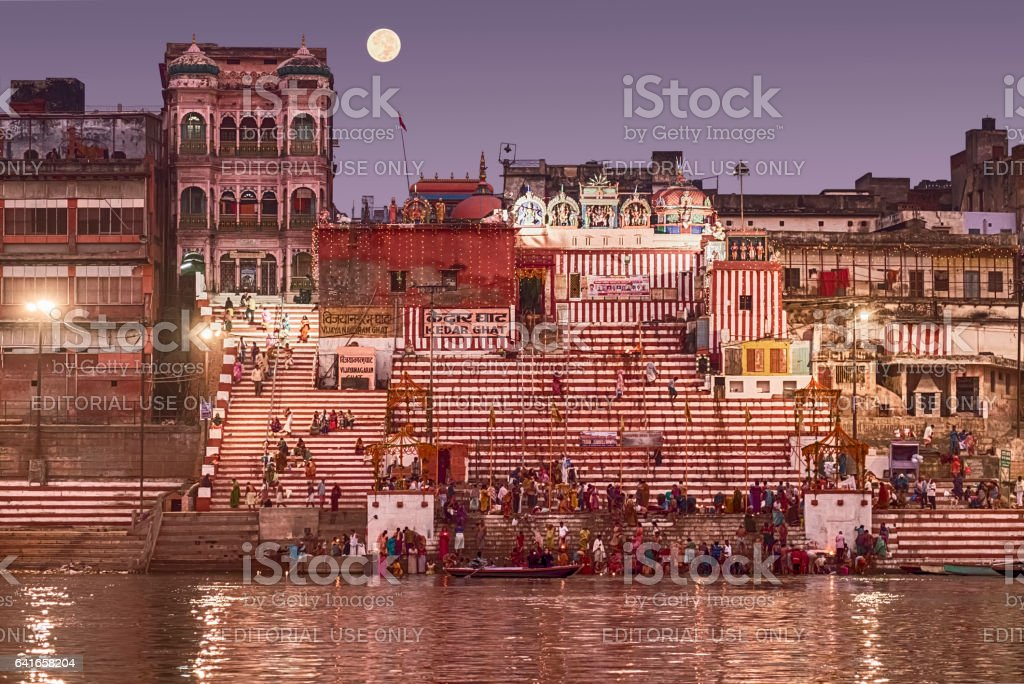 Bathing In The Ganges River Before Dawn stock photo