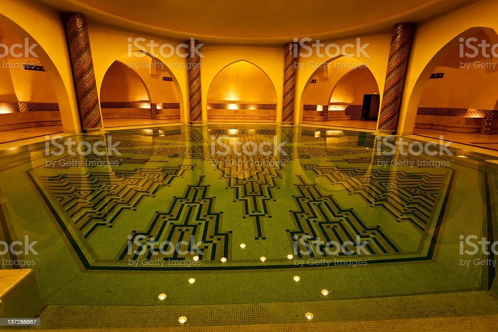 Bathing pool inside of Hammam turkish bath Morocco royalty-free stock photo
