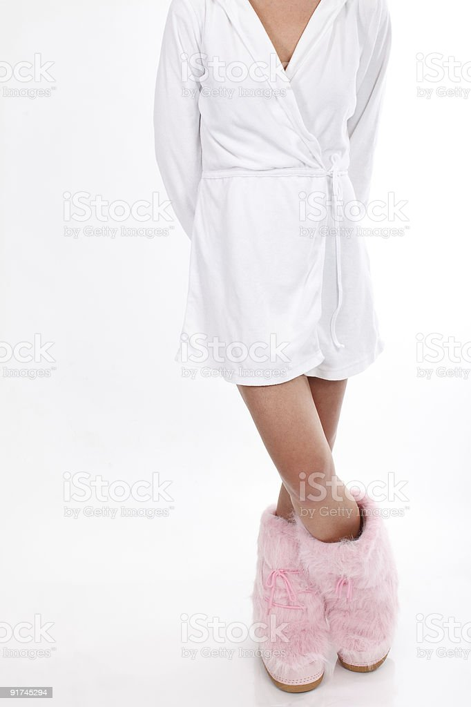 Bathrobe and pink boots royalty-free stock photo