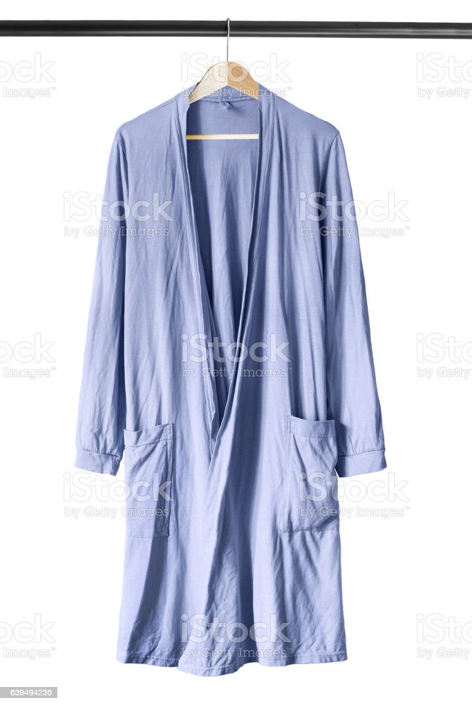 Bathrobe on clothes rack stock photo
