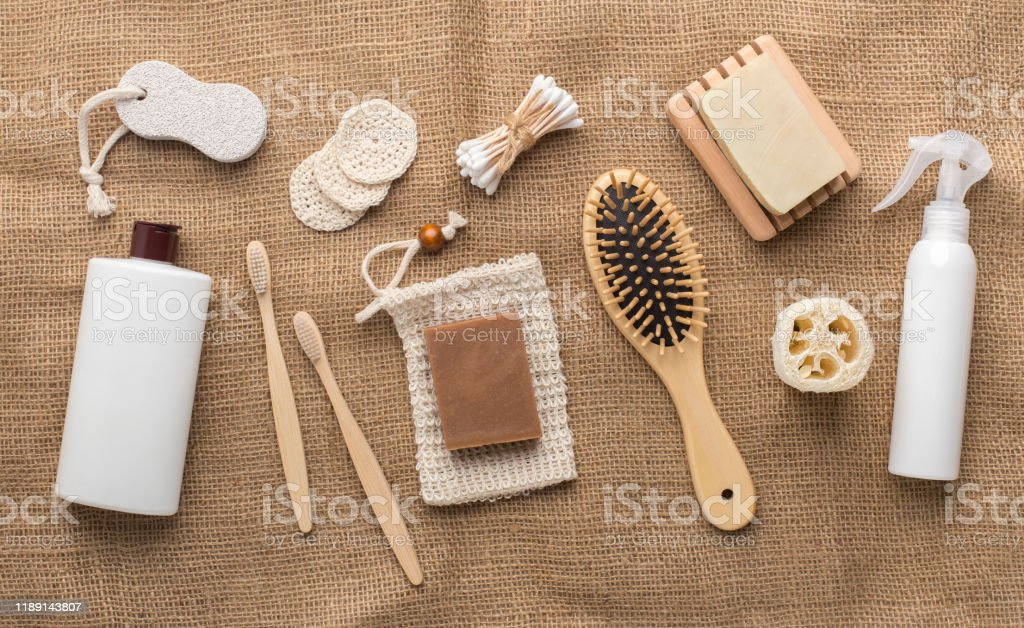 Bathroom Accessories And Essentials On Bamboo Towel Stock Photo Download Image Now Istock