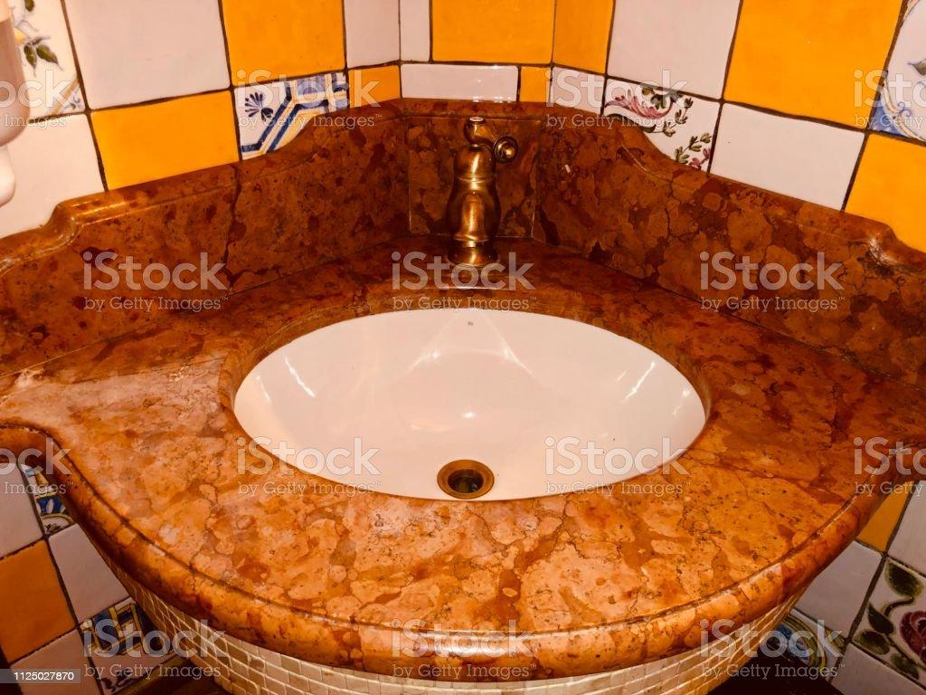Bathroom accessories of Spanish style stock photo