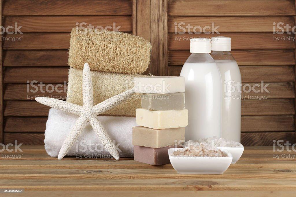 Bathroom accessories stock photo