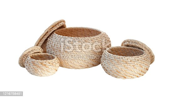 Wicker open boxes isolated on white background. Bathroom accessories closeup set.