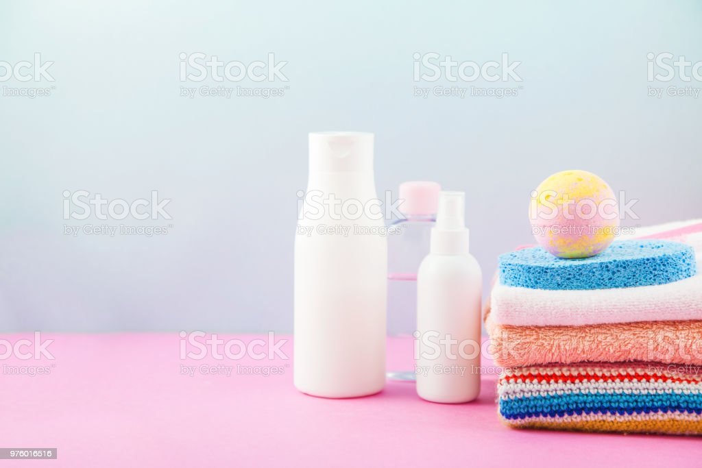 Bathroom Accessories Towels Cream Bath Foam And Shampoos On A Light Bright Background Concept Of Caring For Yourself Your Body Place For Copy Space Stock Photo Download Image Now Istock
