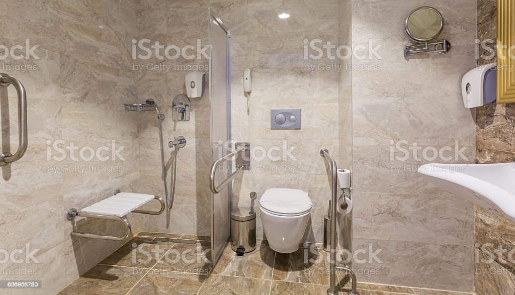 Bathroom and Toilet for people with disabilities stock photo