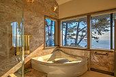 Bathroom bathtub: Modern, luxurious  by ocean in northern California