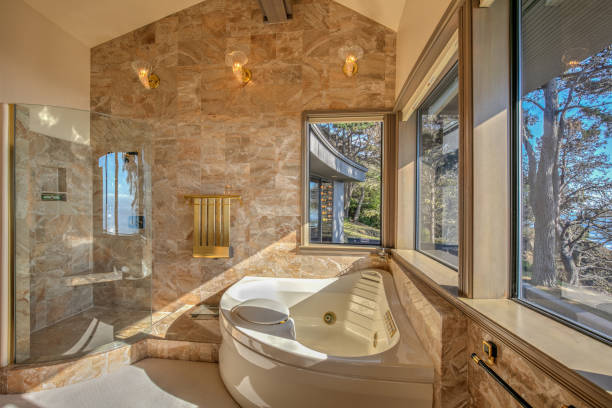 Bathroom bathtub: Modern, luxurious  by ocean in northern California stock photo
