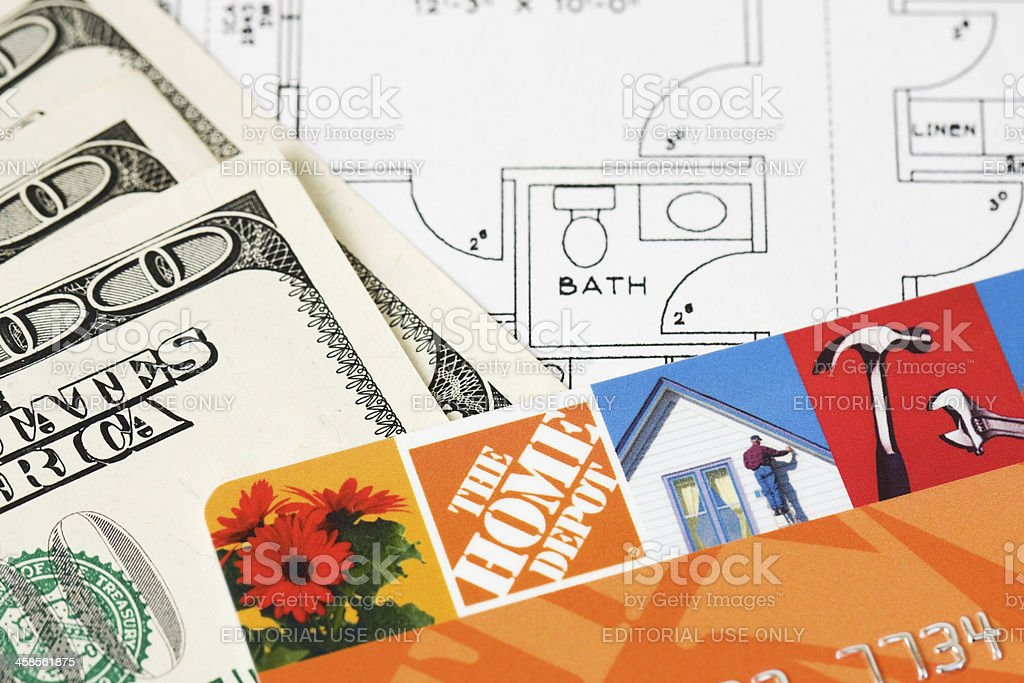 Bathroom blueprint with the home depot credit card and cash stock bathroom blueprint with the home depot credit card and cash royalty free stock photo malvernweather Choice Image
