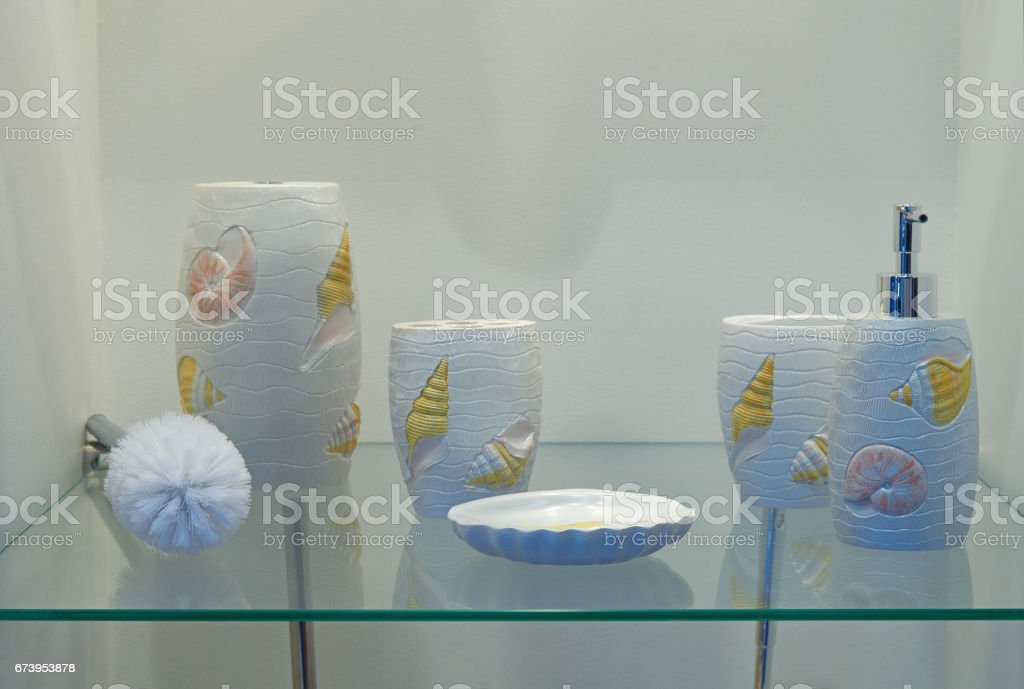 Bathroom ceramic accessories royalty-free stock photo