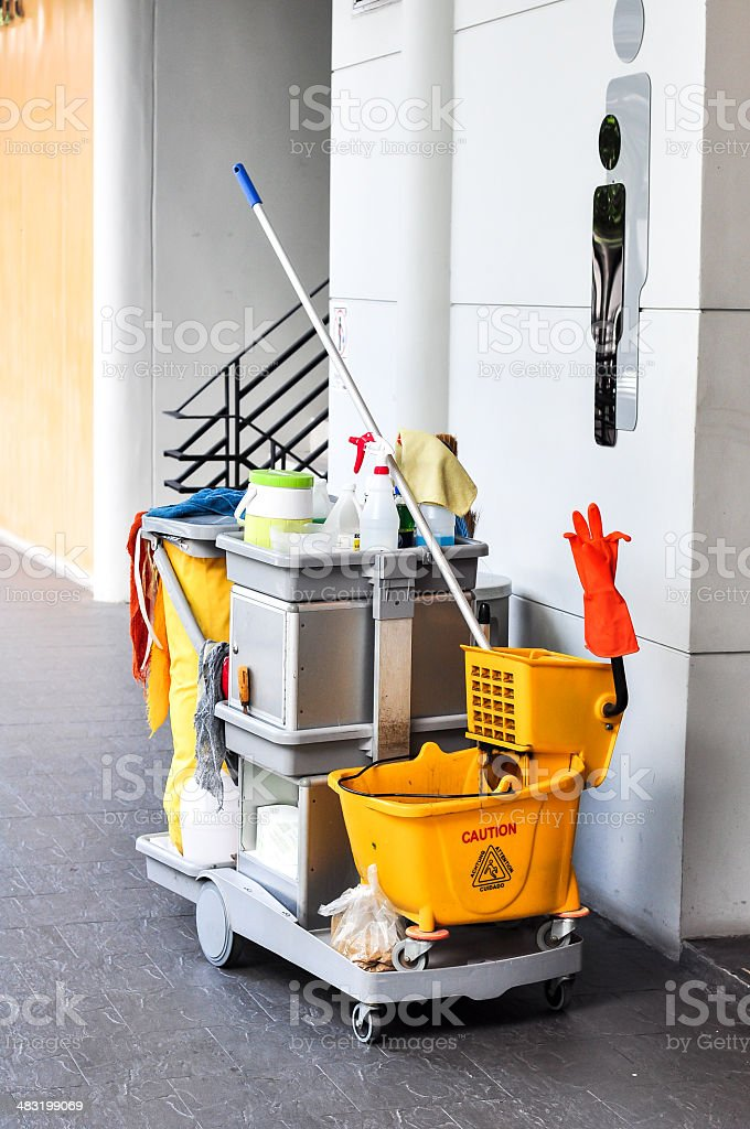 Bathroom cleaning kit stock photo