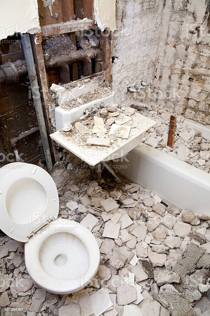 Bathroom Demolition And Renovation Royalty Free Stock Photo