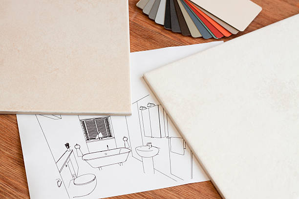 Bathroom design, drawings and samples. stock photo