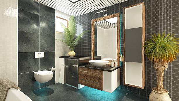 badezimmer-design - badezimmermöbel holz stock-fotos und bilder