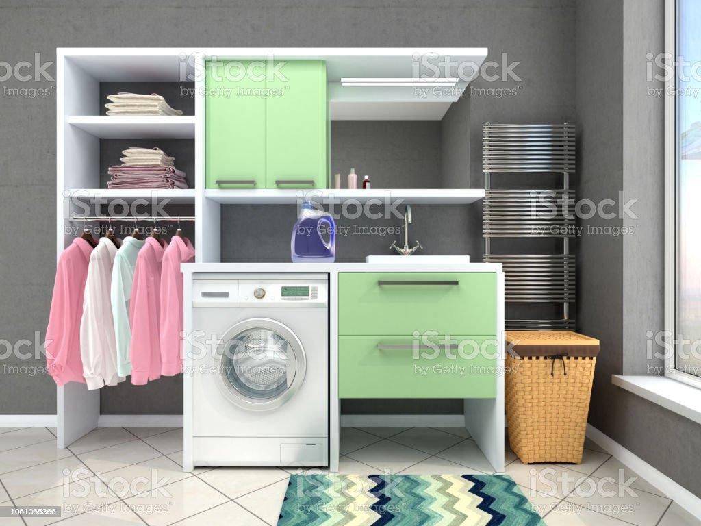 Diseño De Cuarto De Baño Con Lavadora Ilustración 3d Foto de stock y ...