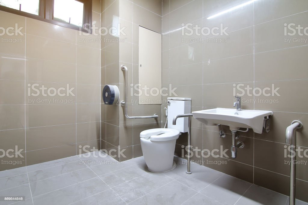 Bathroom for the elderly and the disabled was newly built and was not used. stock photo
