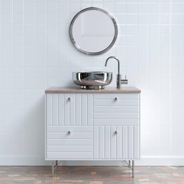 badezimmer-möbel - wandspiegel weiß stock-fotos und bilder