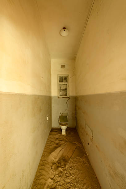 Bathroom in a deserted building, Namibia stock photo