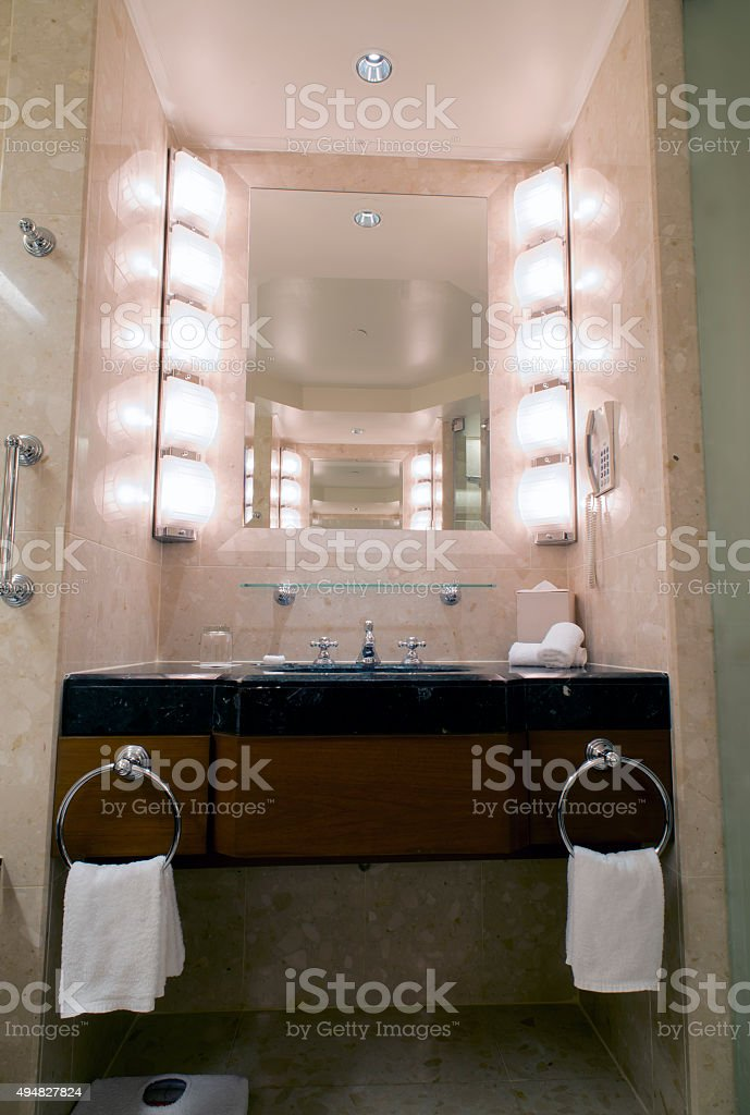 Bathroom in a hotel stock photo