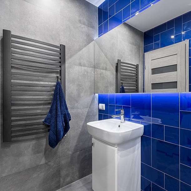 Bathroom in blue and grey – Foto