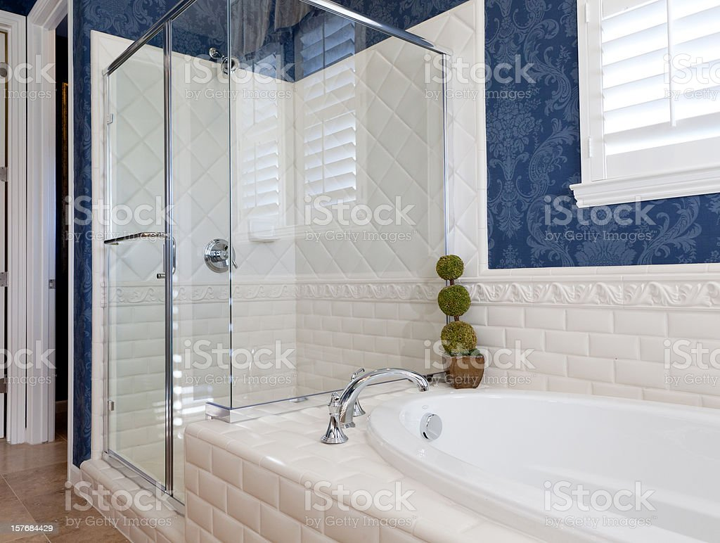 Bathroom in blue and white royalty-free stock photo