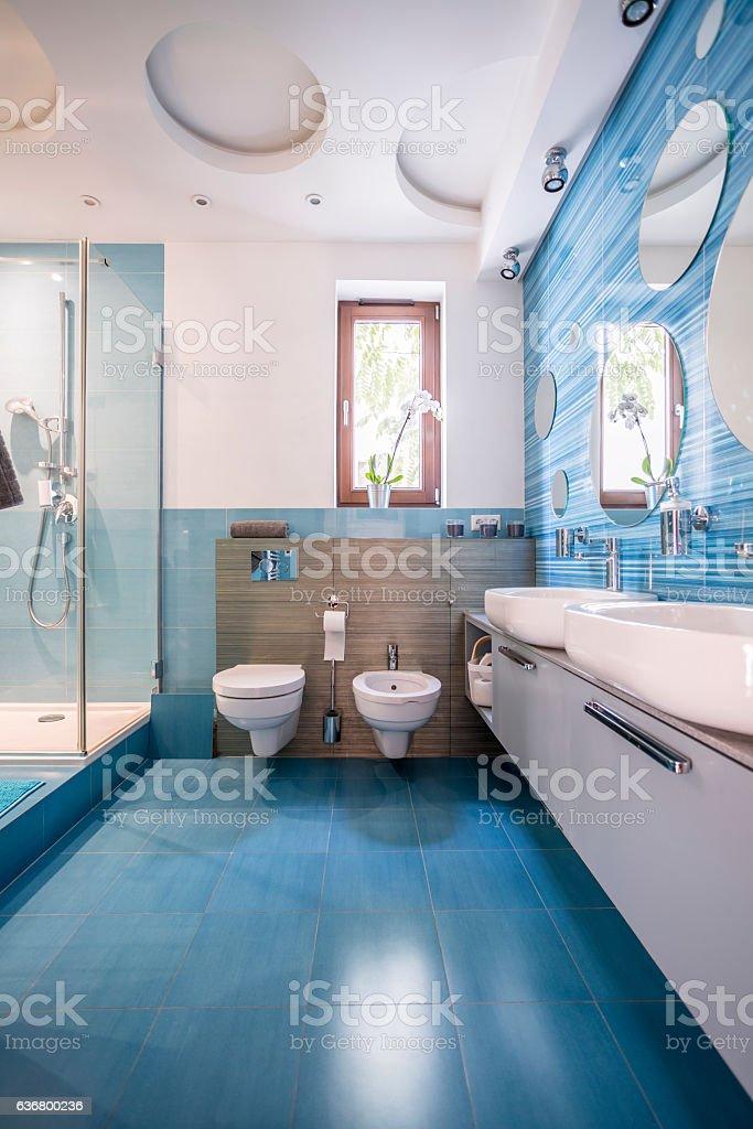 Bathroom in blue stock photo