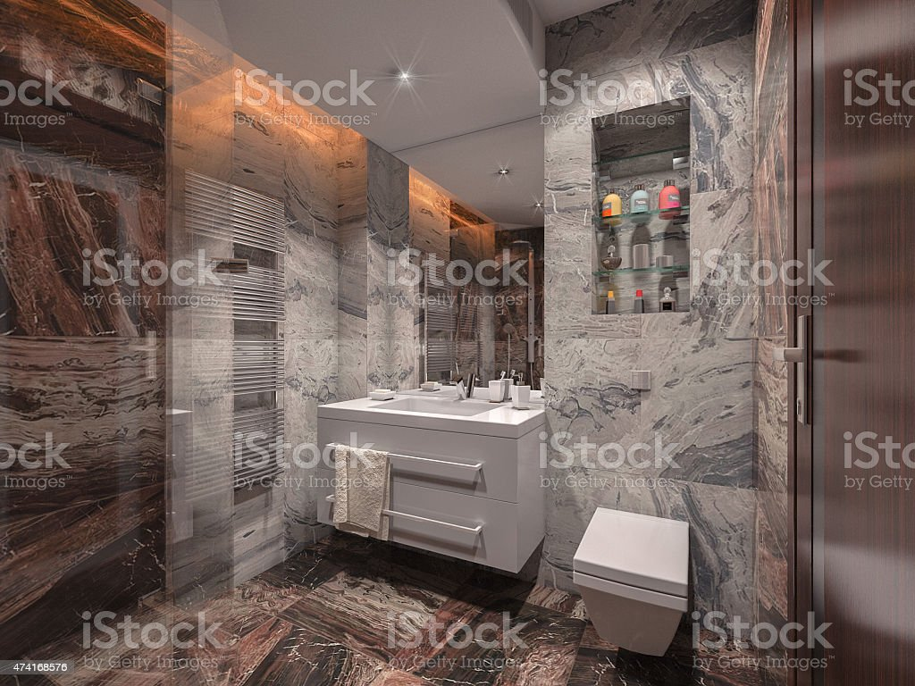 Bathroom in gray and brown stone with white bathroom stock photo