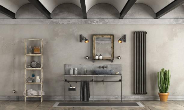 badezimmer in industriellem stil - badezimmer rustikal stock-fotos und bilder