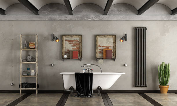 bad im industriellen stil mit badewanne - badezimmer rustikal stock-fotos und bilder