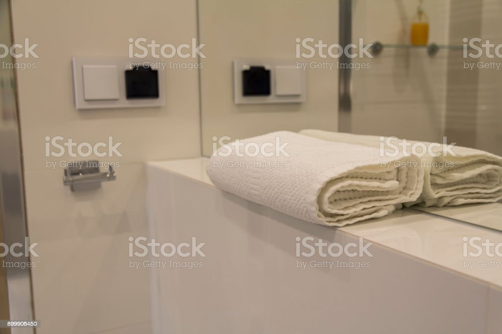 Bathroom in luxury apartment stock photo